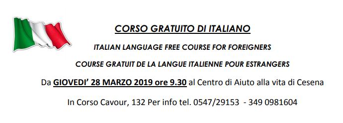Corso gratuito di italiano